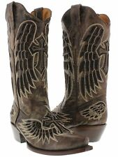 Women's Cross and Wings Brown Leather Cowboy Boot Western Wear Rodeo