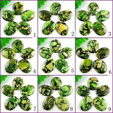 Pretty 5pcs 45x35mm Oval Green Grass Turquoise & Pyrite Pendant Bead AY5208