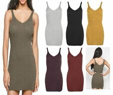 Womens Ladies SLEEVELESS RIBBED V NECK Bodycon Mini TUNIC DRESS Long Vest