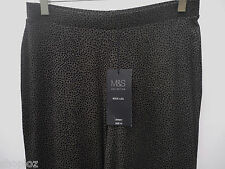 M&S Sizes 10-22  Wide Leg Pull On Jersey Trousers Bnwt Taupe Mix Free Postage