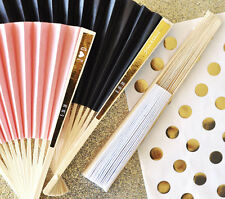 80 Personalized Colored Paper Wedding Favor Hand Fans with Metallic Foil Labels