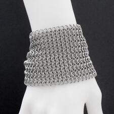 Ultra Wide 316 Stainless Steel Chain Maille Mesh Cuff Bracelet - Premium Quality