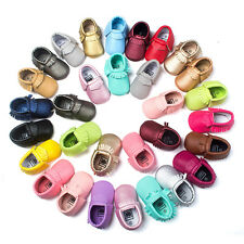 Cute Toddler Baby Infant Soled Leather Moccasins Bow Fringe Shoes 0-18 Months