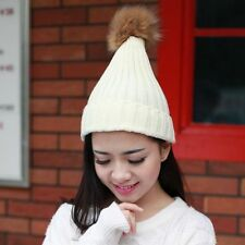 Ladies Hat Winter Beanie Tight Knitted Faux Fur Pom Poms Hat Cap Warm Hot Street