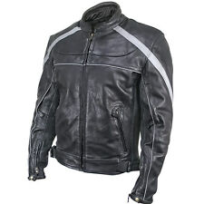 Xelement Womens Black Grey Armored Soft Thick Leather Motorcycle Jacket