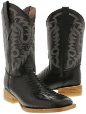 Mens Black Python Snake Exotic Western Cowboy Boots Leather Square