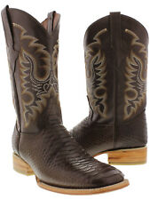 Mens brown python snake print exotic western cowboy leather square boots new