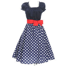 navy blue white polka dot dress vintage uk online women's plus size party prom