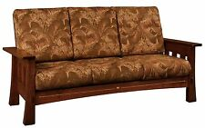 Amish Mission Mortise Tenon Mesa Sofa Couch Upholstered Solid Wood Back Surround