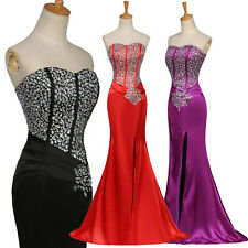 Beaded Prom Long Maxi Evening Ball Gowns Tuxedo Bridesmaid Dress Wedding Formal