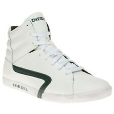 New Mens Diesel White Klubb Hi Leather Trainers Top Lace Up