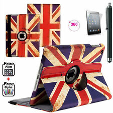 FINE Leather Union Jack 360° Smart Stand Case Cover For APPLE iPad 2,3,4 Gen