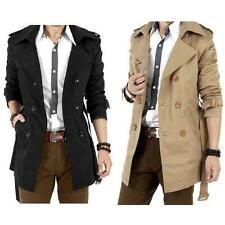 Charming Style Men Slim Double Breasted Trench Coat Long Jacket Overcoat Outwear