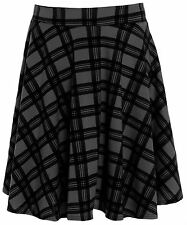 New Ladies Black Tartan Flared Skater Skirt 14-28
