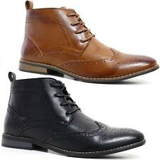 Mens Faux Leather Boots Smart Formal Brogue Combat Lace Ankle Boots Shoes Size