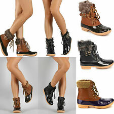 New Women's Lace Up Two Tone Lace Up Faux Shearling Calf Rain Duck Boots