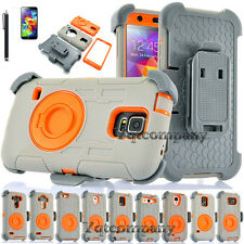 GRAY REFINED HEAVY DUTY ARMOR CASE PHONE HARD COVER & BELT CLIP HOLSTER + MORE
