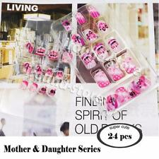 【Mother and Daughter Series】24pcs Cute French Short kid false fake nail tip Glue