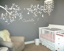 Unisex All white Nursery wall decals with personalized baby name stickers 101