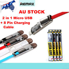 REMAX 2 IN 1 Micro + 8 Pin USB Sync & Charging Cable for iPhone 6S 6 Plus HTC AU