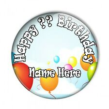 Personalised Custom Name & Age Balloons Birthday Keepsake Pin Badge