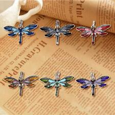 New Silver Necklace Pendant Dragonfly Ladies Crystal Rhinestone Jewelry TS T9R3