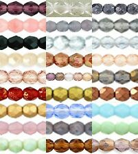 4mm 50 Beads Czech Fire Polished Round Faceted Glass Crystal Beads