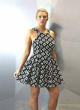 Women's Skater Mini pinafore dress with box pleat strappy black white polka dot