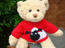 Hand Knitted Teddy Bear Jumper - Red Sheep design - Build a Bear Clothes