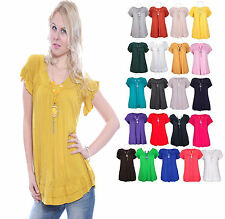 Ladies Women Frill Gypsy Plus Size Tops Necklace Tunic Short Sleeve V Neck 12-30