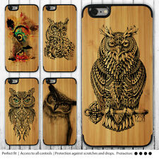 iPhone SE 6s 6 Case Owl Print on Wood Bamboo Hard Cover for Apple 6s Plus 5 5c 4