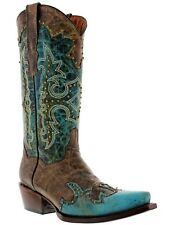 Women's Turquoise Brown Studded Western Leather Cowboy Cowgirl Rodeo Boots