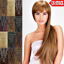 Real Quality 70g 80g Clip In Remy Human Hair Extensions Full Head Straight US C0