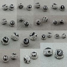 Clear Crystal Rhinestone Alphabet Letters Loose Spacer Beads Jewelry Findings