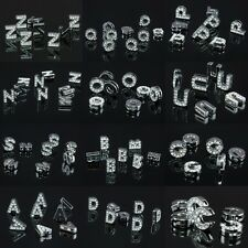 Alphabet Letters Clear Crystal Rhinestone Slider Charm Bead Finding Fit Bracelet
