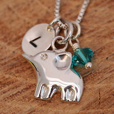 925 Sterling Silver Personalised Baby Elephant Pendant Necklace &Birthstone &Box