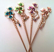 Enamel Valentine Calla Lily Flower Design Hair Sticks   Crystal and Pearl Accent