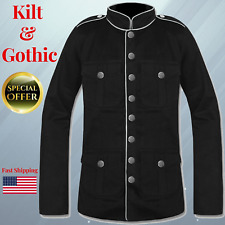 Military Jacket Black White & Red Goth Steam punk Army Officer Pea Coat