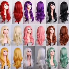Lady Womens Long Hair Wig Curly Wavy Synthetic Anime Cosplay Party Full Wigs