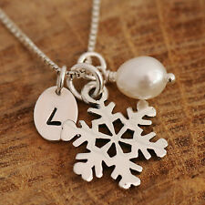 Sterling Silver Personalised Sonwflake & Freshwater Pearl Charms Necklace Boxed