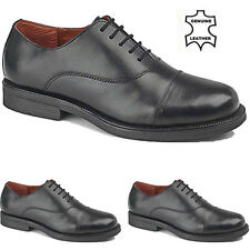 MENS BLACK LEATHER CADET PARADE BOYS CAPPED FORMAL SMART OCCASION SHOES SIZE