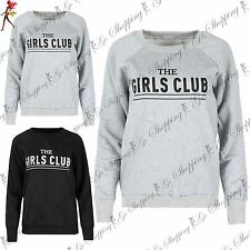 Ladies Novelty Jumper Sweater Womens THE GIRLS CLUB Printed Fleece Sweatshirt