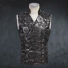 EMO GOTH STEAMPUNK dieselpunk VEST JACKET MILITARY Notched Lapel tapestry S-3XL