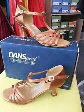 "dansport women ladies latin shoes  L3005 tan satin  heel 2.5"" IDS 4.5 uk size"
