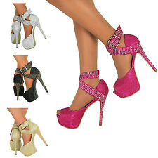 Ladies Womens Stiletto High Heel Peep Toe Party Shoes Sandals Ankle Strap Size