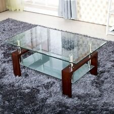 8mm Vintage Walnut White Black Wooden Glass Coffee Table with Shelf Chrome Legs