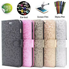 Diamond Flip Leather Stand Slim Magnetic Case Cover Apple iPhone 4 5 SE 6 Plus