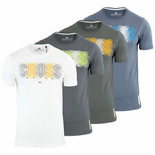 Mens T Shirt Crosshatch Electro Cotton Printed Graphic Crew Neck Casual Top