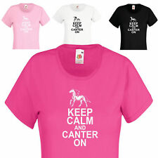 Keep Calm and Canter On, Ladies Horse Riding Equestrian crew neck Cotton t shirt