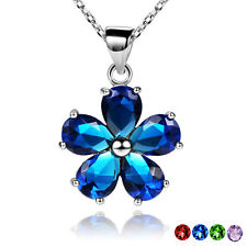 Crystal Trendy Necklaces Pendants Flower Charm 18K Gold Plated Fashion Jewelry